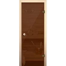 Дверь для сауны Бронза прозрачная
